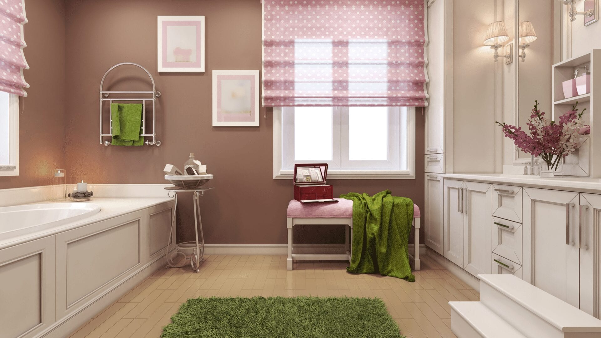 Color used to highlight bathroom features